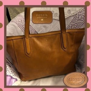 Fossil Brown Leather Shoulder Bag USED CONDITION